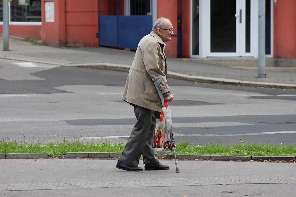 Old Man, Crutches, Senior, Human