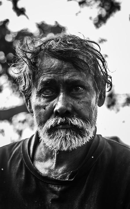 Old Man, Blind Man, Indian, Blind, Homeless, Portrait