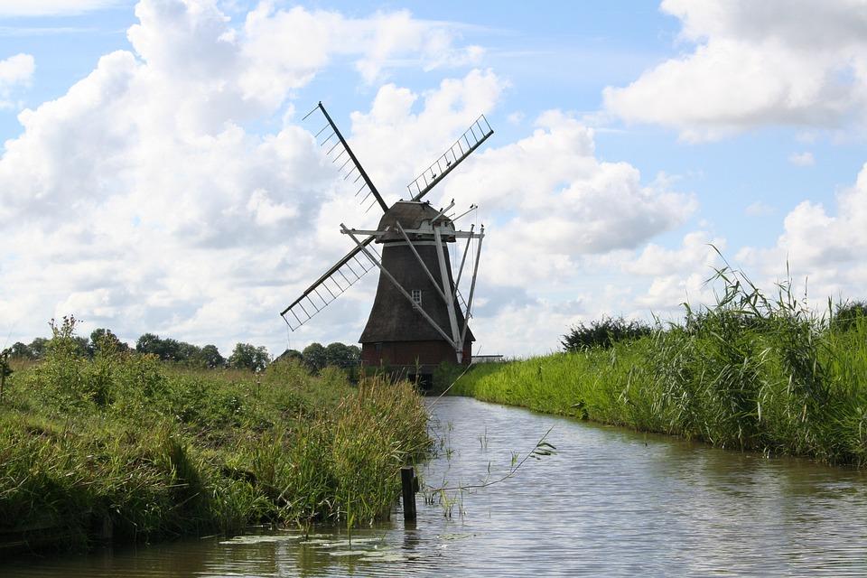 Mill, Locks, Groningen, Netherlands, River, Old