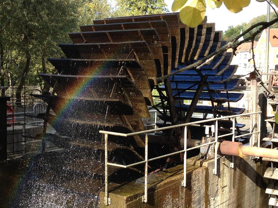 Water, Wasserrrad, Mill Wheel, Rainbow, Machine, Old