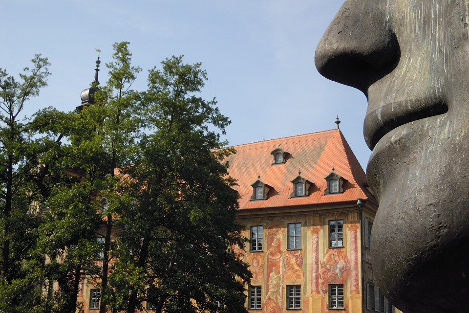 Town Hall, Old, Building, Modern Art, Bronze Sculpture