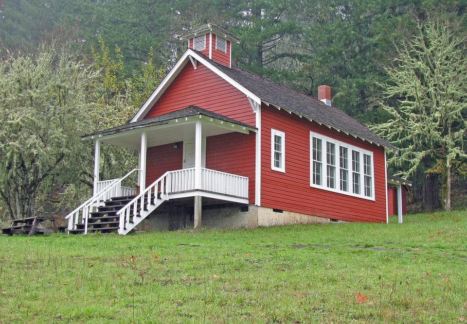 School, Schoolhouse, Red, Old, Oregon