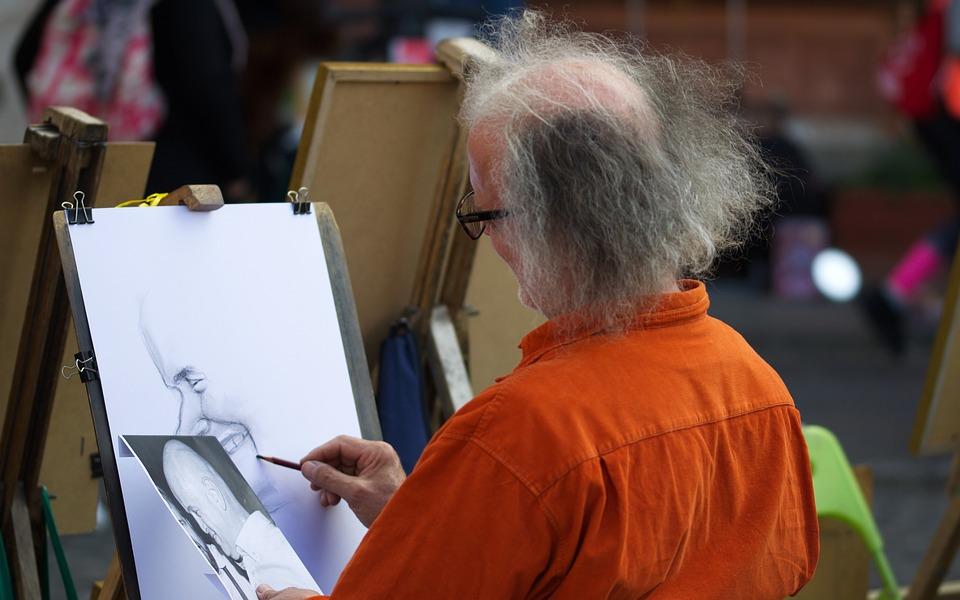 Painter, Artist, Cartoonist, Art, Stand, Man, Old, Age
