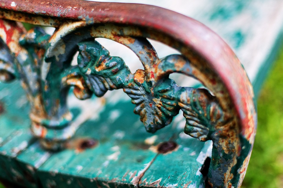 Park Bench, Thailand, Detail, Metal, Rusty, Old