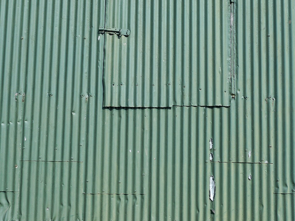 Corrugated Iron, Green, Pattern, Industrial, Old