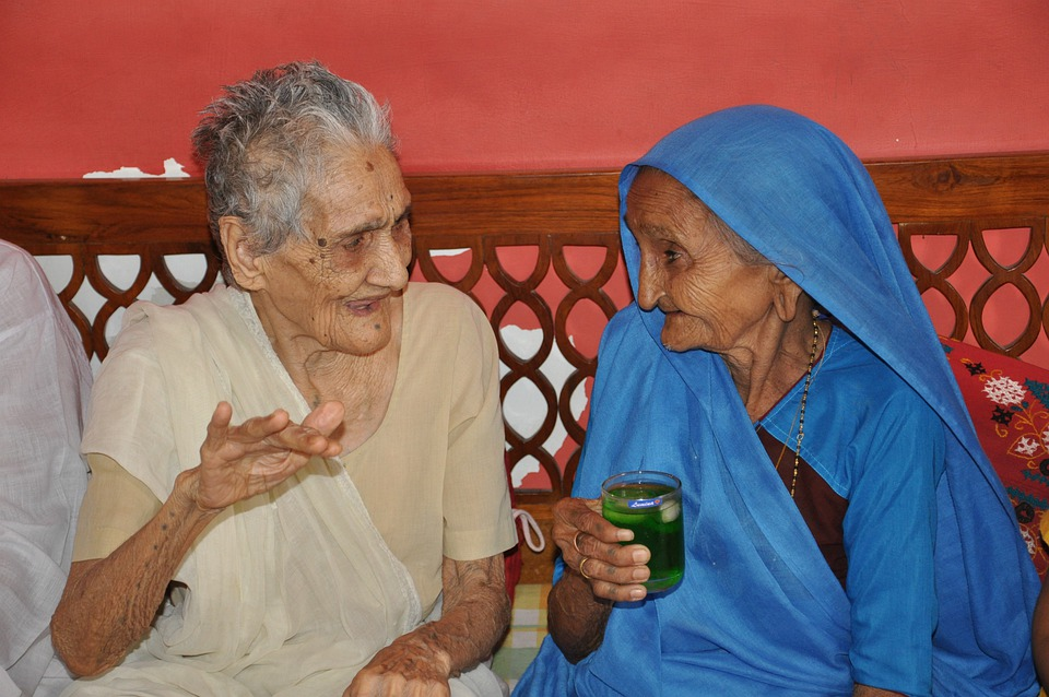 Woman, Old, India, People, Person, Talking