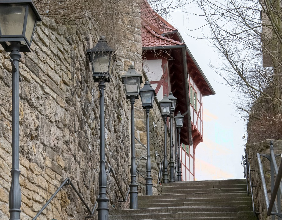 Old, Stairs, Historic Center, Stone Steps, Railing