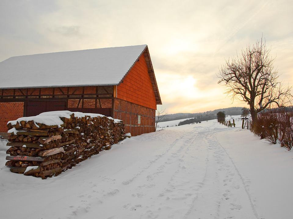 Winter, Bad Wildungen, Barn, Snow, Wood, Old, Roof