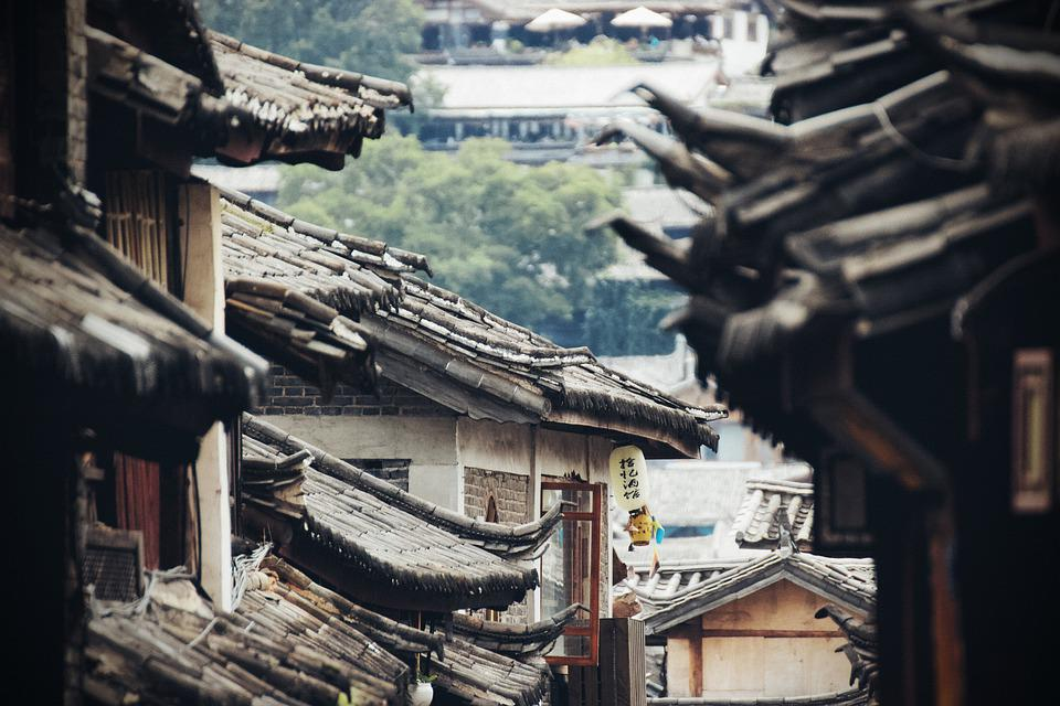 Roof, Houses, Old, China, Asia, City, Town
