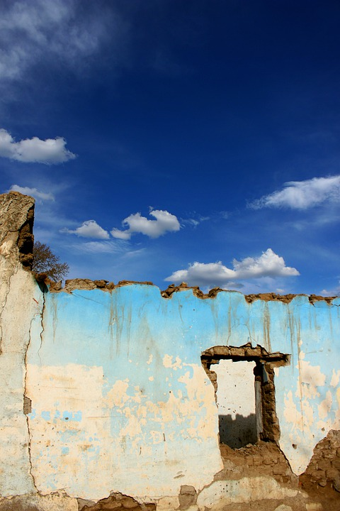 Ruins, Clouds, Construction, Sky, Wall, Adobe, Old