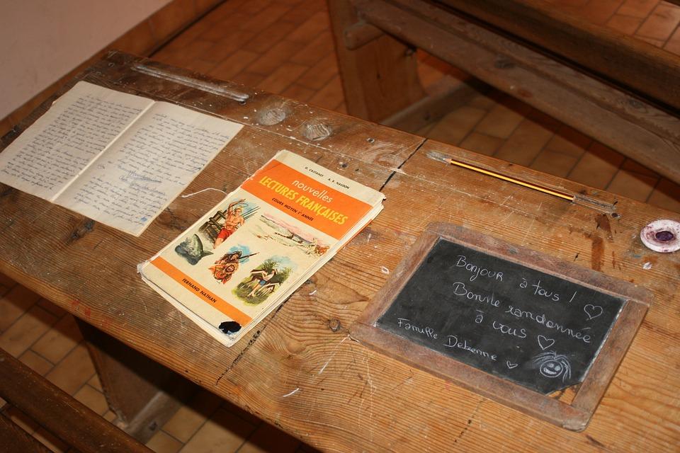 School Desk Old Slate Notebook Inkwell