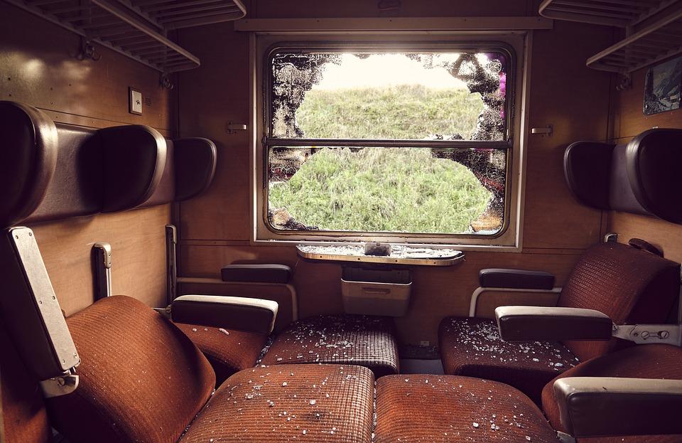 Zugabteil, Seats, Window, Window Seat, Old, Shard
