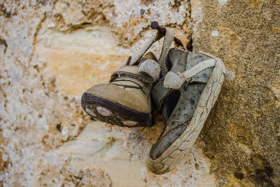 Old Shoes, Child Shoes, Hanging, Offer To Saint