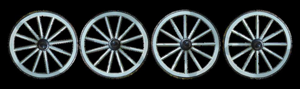 Wheels, Old, Spokes, Wood, Hubs, Wagon Wheel