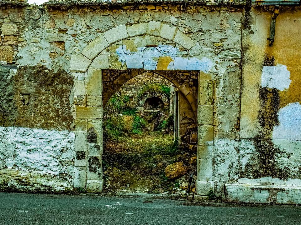 Entrance, Gate, Stone, Old, Abandoned, Damaged