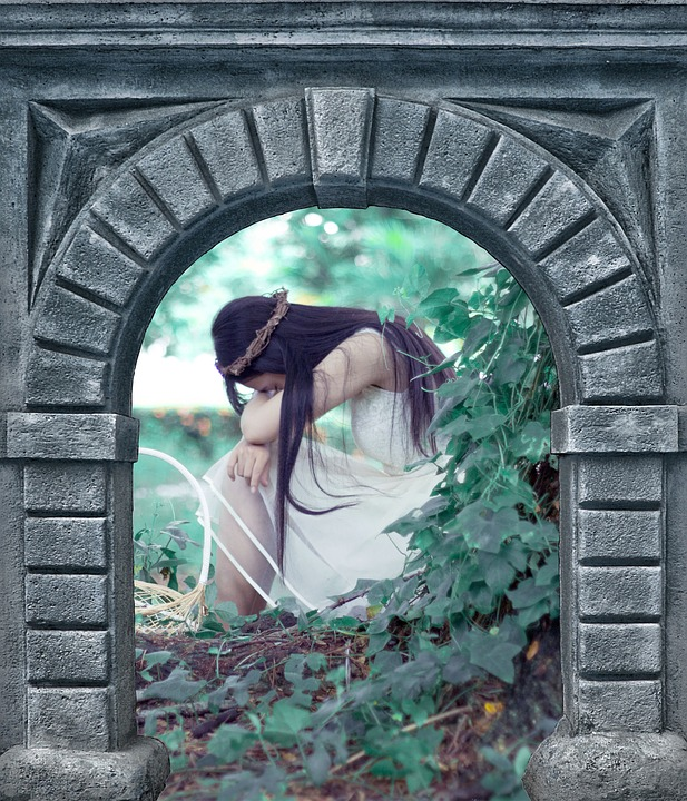Stone, Door, Old, Wall, Arch, Girl, Magic, Story