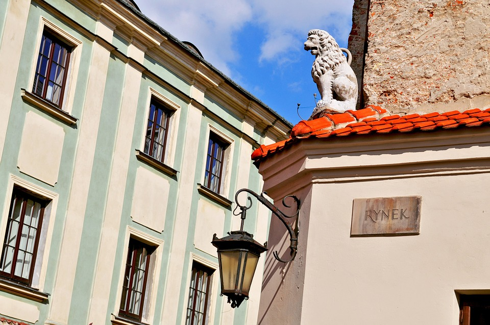 Lublin, Poland, Lion, Building, Old, The Market