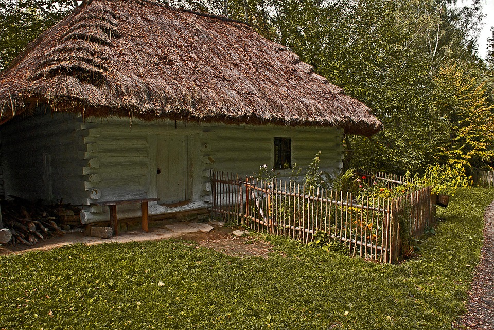 Cottage, Old, Wooden House, The Roof Of The, Straw
