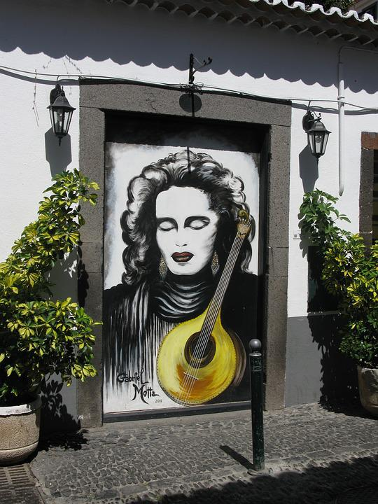 Madeira, Funchal, Old Town, Painting, Mandolin, Door