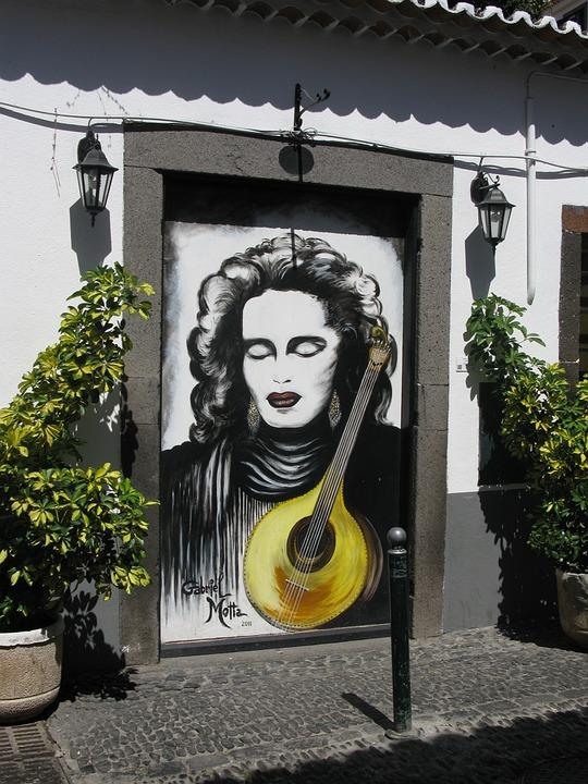 Madeira, Funchal, Old Town, Painting, Mandolin, Door