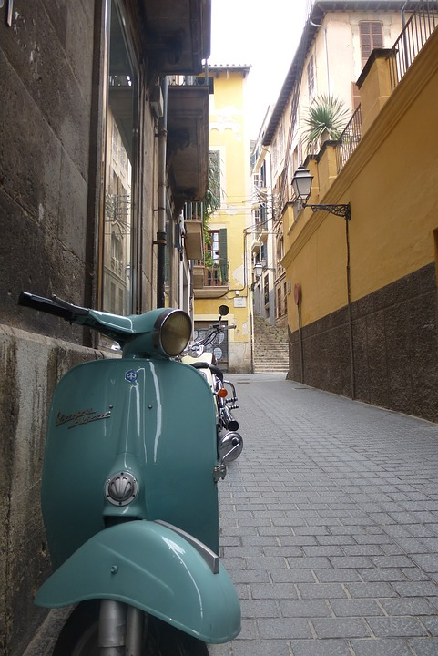 Vespa, Mallorca, Old Town, Moped, Street