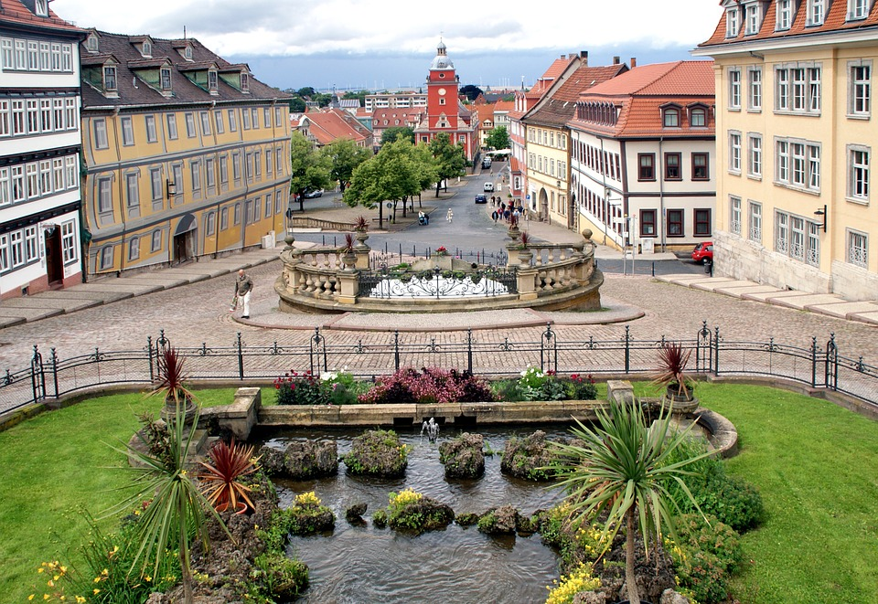 Water, Flowers, Fountain, Pond, Nature, Old Town