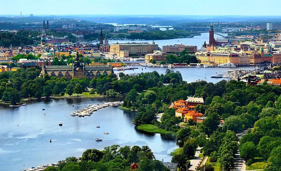Stockholm, Sweden, Old Town, Gamla Stan, Air Photo