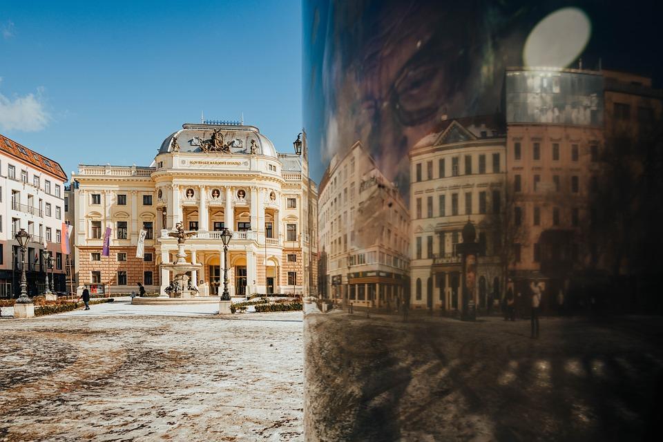 Theater, Bratislava, Old Town, Reflection, Bottle