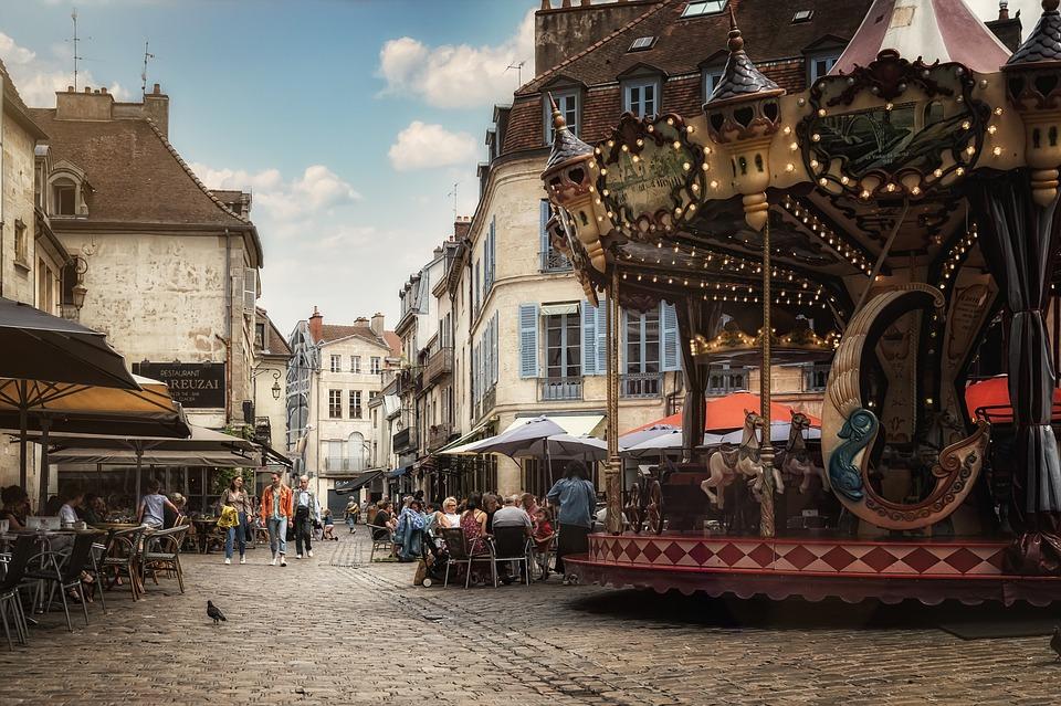 Carousel, Old Town, Urban, Dijon, France, Street