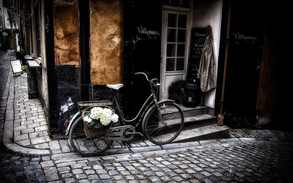 Stockholm, Bicycle, Old, City, Trade, Street