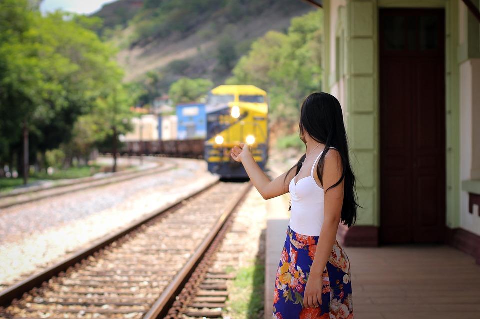 Trip, Woman, Train, Outdoors, Railway Line, Old, Trail