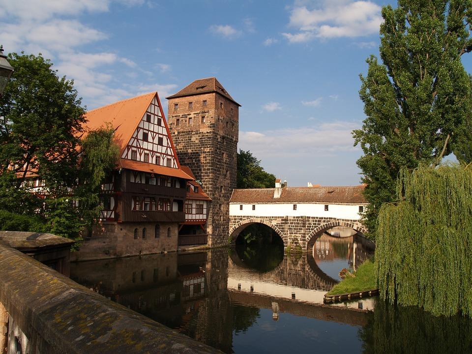 Architecture, Old, Waters, Tree, Travel, Nuremberg