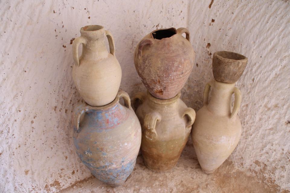 Amphores, Tunisia, Pots, Old, Culture, Stone, History