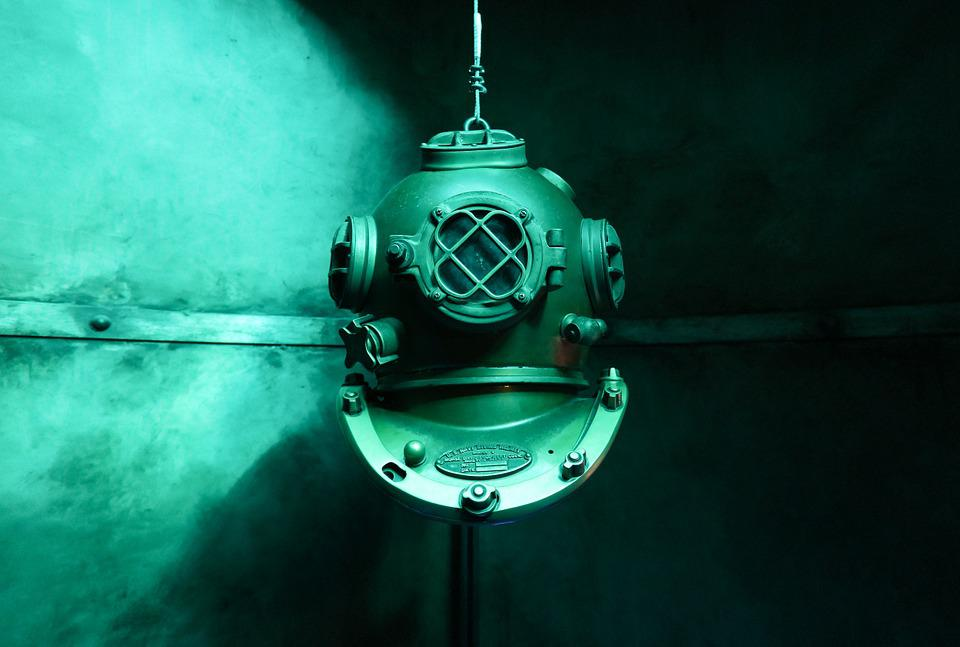 Diving, Old, Underwater, Diving Suit, Helm