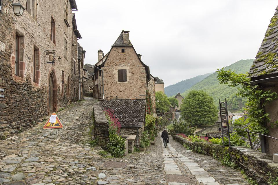 Conques, Pilgrims, Street, Old, Medieval, Up, Down