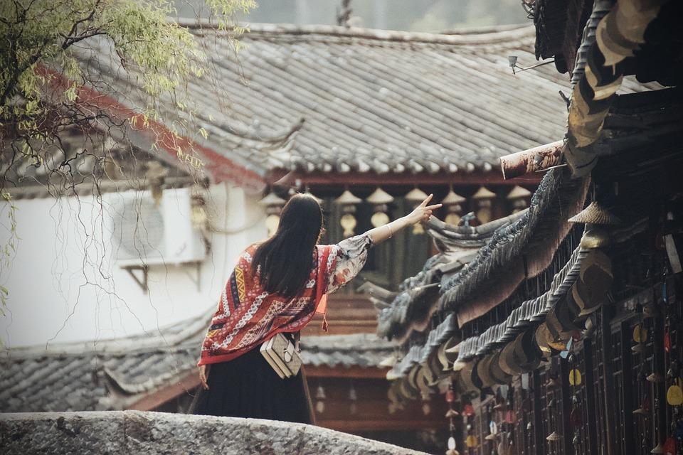 Woman, Bridge, Village, Girl, Greeting, Old Village