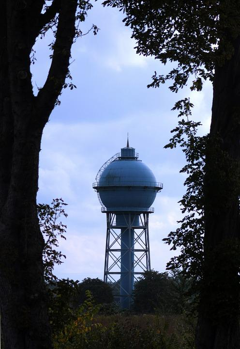 Water Tower, Water, Tower, Architecture, Old, Blue