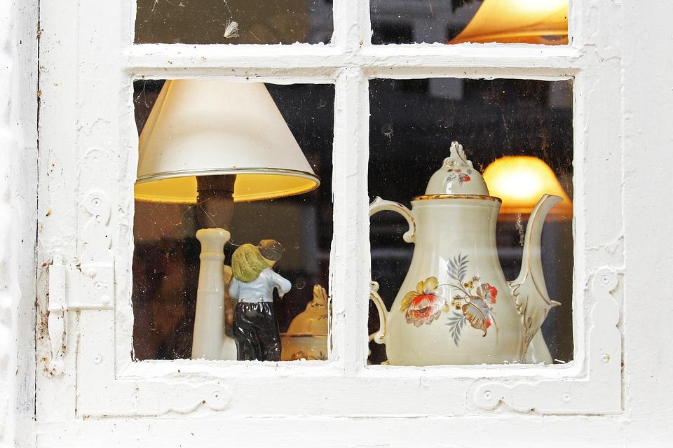 Old Window, Porcelain, Old Porcelain, Table Lamp, Junk