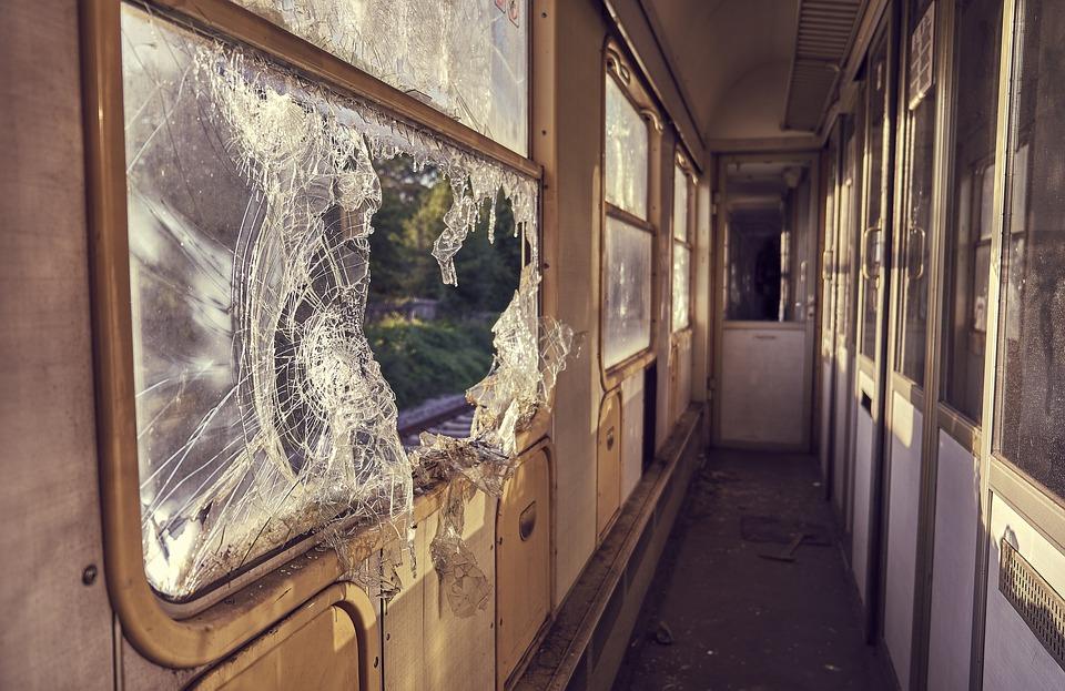 Wagon, Shard, Vandalism, Window, Train, Old, Discarded