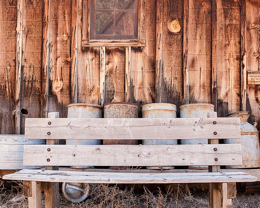 Bench, Containers, Barn, Wood, Rustic, Old, Brown