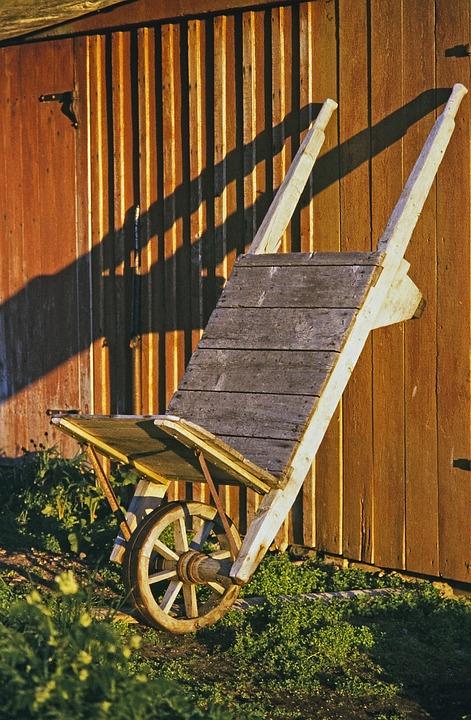 Wheelbarrows, Home, Building, Wood, Barn, Old, Antique