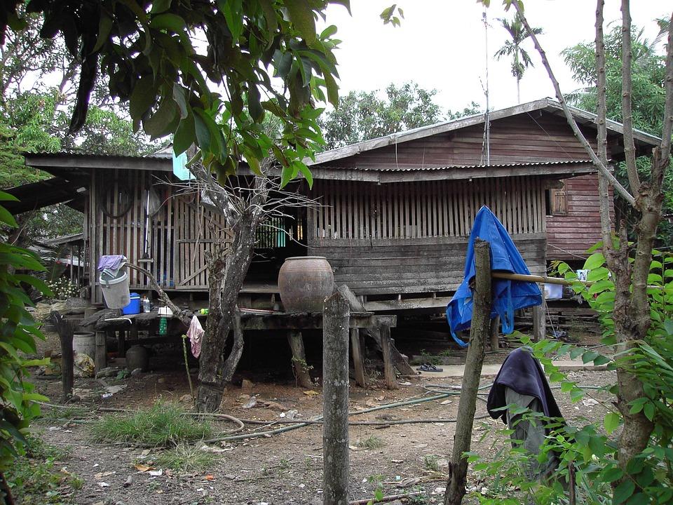 Log Cabin, Old, Weathered, Wood, Thailand, Thai