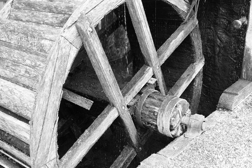 Mill, Mill Wheel, Old, Worn, Black And White