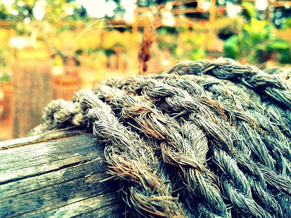 Rope, Wood, Old, Worn
