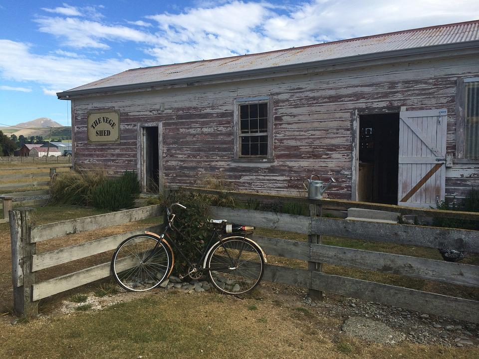 Barn, Zealand, Scene, Old, Bike, Countryside