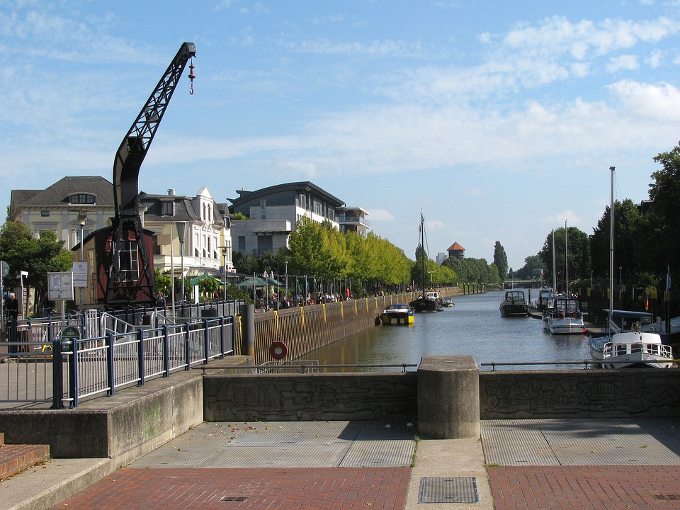 Oldenburg, Germany, City, Town, Buildings, Crane, Boats