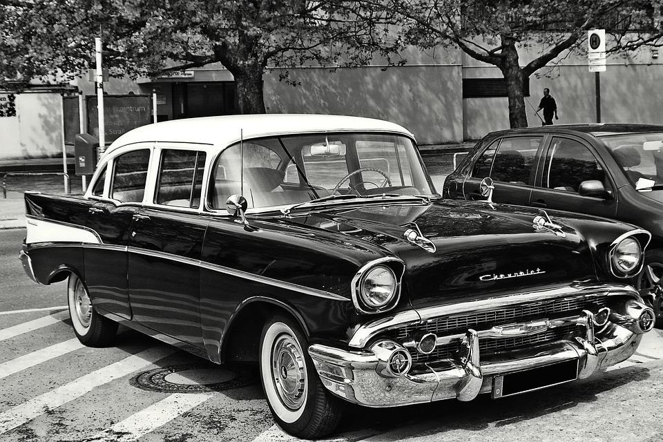 Oldtimer, Chevrolet, Usa, Pkw, Black And White, Low Key
