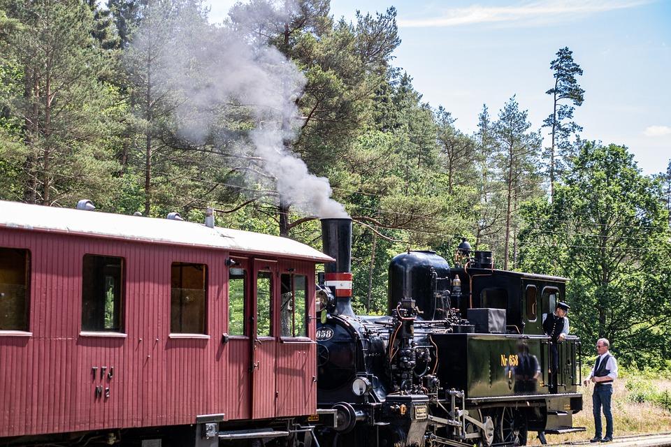 Steam Locomotive, Carriage, Oldtimer, Smoke, Rail