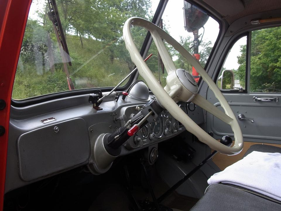 Auto, Oldtimer, Fire, Red, Handlebars, Steering Wheel