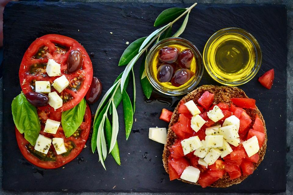 Dakos, Tomato, Olives, Olive Oil, Branch, Leaves